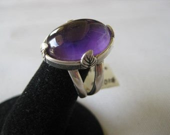 African Amethyst (18x13mm) Cabochon Sterling Silver Ring Size 7, No. 1026