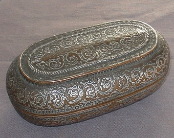 old copper and silver inlay box