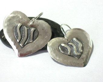 Hand Crafted Large Dangle Silver Heart Earrings, Drop Heart Earrings, Artisan Sterling Silver Jewelry