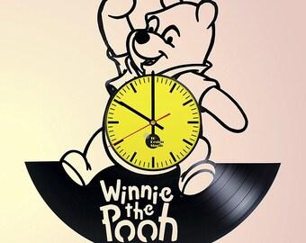 Winnie the Pooh Silhouette Vinyl Record Wall Clock Home Decor