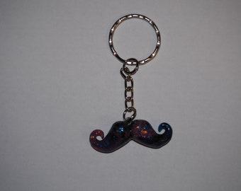 Galaxy Moustache Keyring