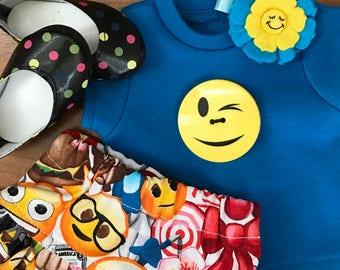 American Doll Funny Face doll Shirt ruffle skirt, felt flower hair clip ballet polka dot flats smilely emoji face button 18 inch doll skirt,