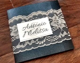Quadratische Spitze Hochzeitseinladungen