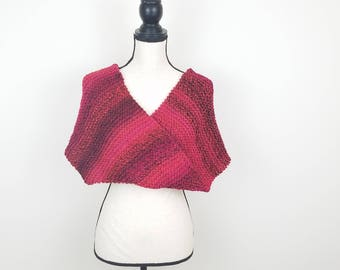 Thick Infinity Scarf Knit Red Tweed Scarf