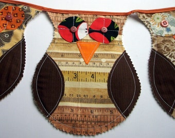 BROWN tones Scrappy OWL  Bunting Garland, holiday Bunting, Birthday Flags