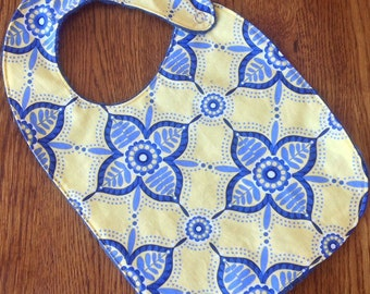 ON SALE - Yellow and Blue Modern Flower Minky Baby/Toddler Bib