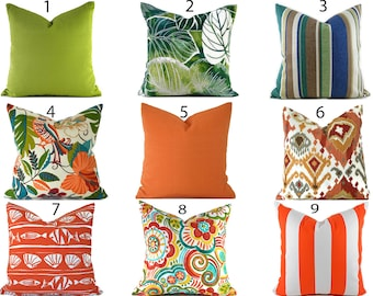 Orange Outdoor Pillows ANY SIZE Outdoor Cushions Outdoor Pillow Covers Decorative Pillows Outdoor Cushion Covers Best Pillow OD You Choose