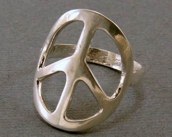 Sterling Silver Hand Forged  Peace Sign Ring - Made to order, Peace Sign Ring, Handmade, Sterling Silver Peace Sign Ring