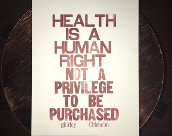 Health is a Human Right letterpress poster