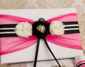Wedding Guest Book, Wedding Sign Book, Coral Guest Book, Guest Book Set, Black and Fuchsia Wedding Accessories