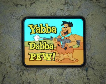 Yabba Dabba Pew Flintstones PVC Morale Patch - Hook Backed