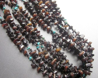 Native American Turquoise Nugget Multi Strand Beaded Natural Turquoise Southwest Pueblo Jewelry