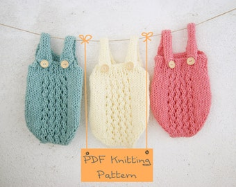 121 PDF Knitting Pattern baby Romper / Newborn Knitting pattern Photo props / Knit pattern baby onesie