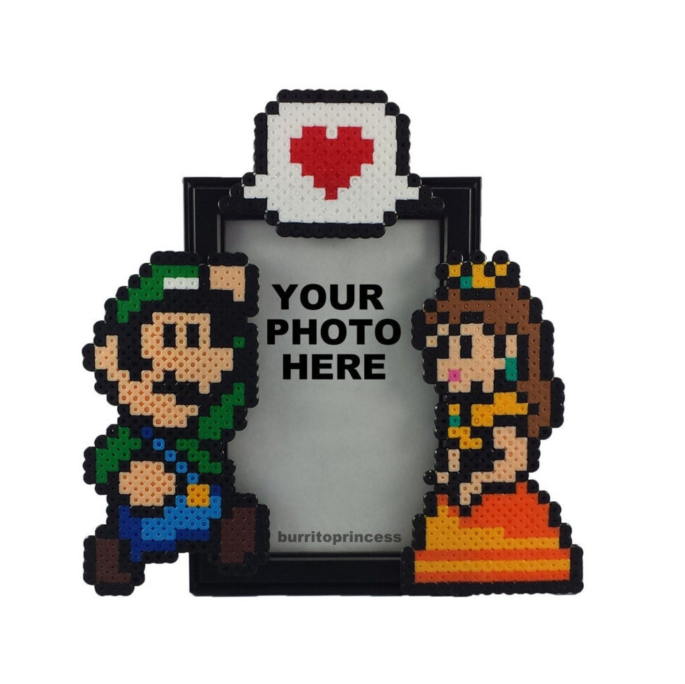 Luigi and Daisy Picture Frame - Couples Picture Frame - Nerdy Anniversary Gift - Nerdy Wedding Gift - Video Game Wedding - Nerd Couple