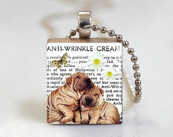 Wrinkle Puppy Dog English Bulldog - Scrabble Tile Pendant - Free Ball Chain Necklace or Key Ring