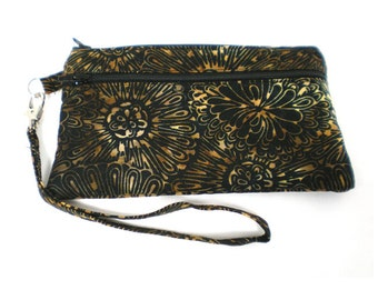 Smartphone iPhone Cell Phone Case, Double Pocket Wristlet, Detachable Strap, Black with Brown and Gold Floral Batik 5470