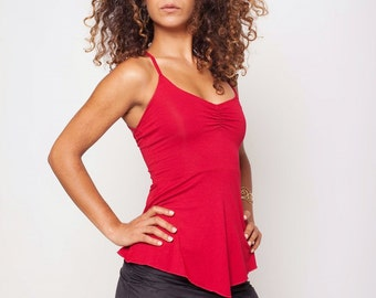 Open Back Top, Gypsy, Romantic, Red Tank Top, Fairy top