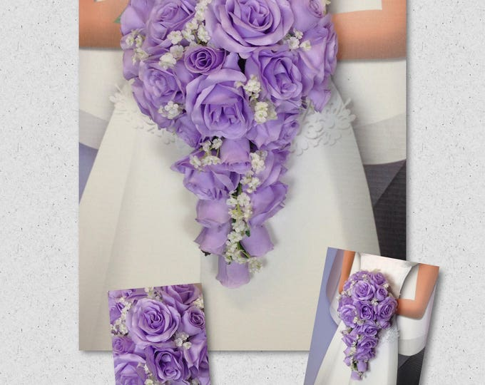 "New Jennifer Silk Lavender Teardrop Bridal Bouquet, Lavender and Baby's Breath Wedding Bouquet, 15"" in length."