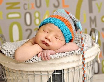 Newborn Baby Boy Hat Knit BaBY PHoTO PRoP Tassel Stocking Cap FCN BeANiE Aqua Grey Orange Stripe CoMiNG HoME Ryan Robot Toque CHooSE CoLOR