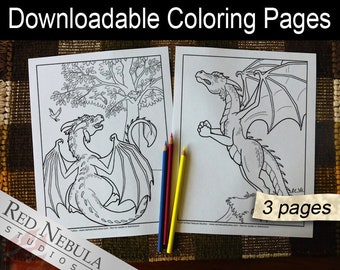 Coloring Pages 19-21 - Shella the Dragon, Young Adult Coloring Page, Fantasy Coloring Book Pages, Longing to Fly, Birds, Wings, Flying