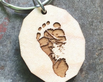Your Child's Footprint or Handprint Keychain or Necklace Gift for Grandparents Mothers Day Fathers Day Baby Footprint