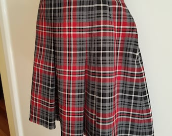 Vintage Wool Blend Tartan Schoolgirl Mini Skirt Size Small