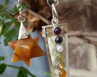 1126..Red Merkaba Quartz Pendulum w/Quartz Crystal Chakra Pendulum w/True Gemstones. Energy of Divine Light. Consciousness to Higher Realms.