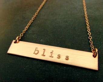 Rose Gold Bar Necklace, Name Plate Necklace, Engraved Necklace, Personalized Rose Gold Letter Initial Necklace KATIE by E. Ria Designs
