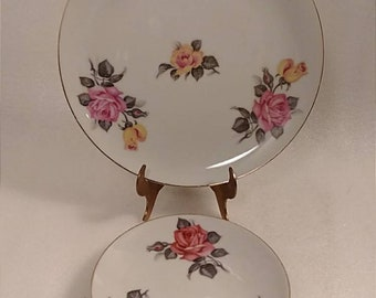 Hand Painted Pacific Japan Rose Design Decorative Plate and Saucer Set