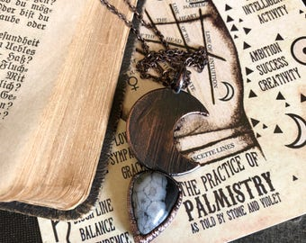 Snowflake Obsidian Teardrop Necklace / Crystal Moon Necklace / Celestial Crystal Jewelry Healing Crystal Pendant / Witchy Crescent Moon