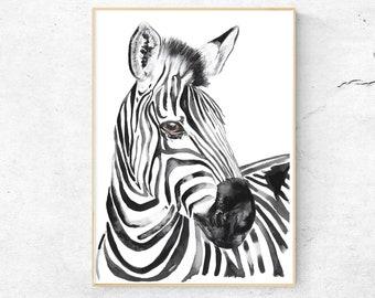 Watercolor Zebra, Watercolor Print, Art print, Watercolor Art, Art print, Zebra  illustration, Nursery Art, Zebra design, Watercolor artist