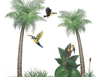 Palm Tree Tropical Bird Murals Collection Wall Decal Stickers (8 feet wide x 8 feet tall)