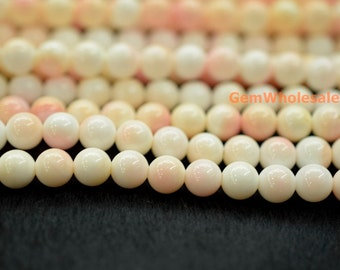"""15"""" 6mm Blush Pink Queen Conch shell round Beads,  jewelry supply,Natural Pink Queen Conch shell round beads, pink shell beads"""