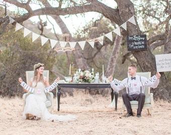 Beautiful wedding flags, ivory lace bunting, luxury garland