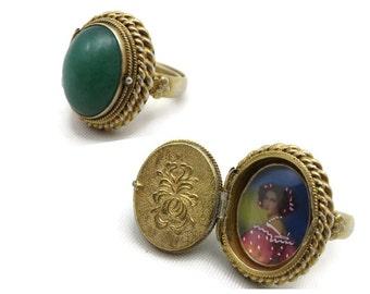Jade Locket Ring - Vintage Secret Compartment Poison Ring, Vintage Rings for Women Silver, Jadeite, Adjustable