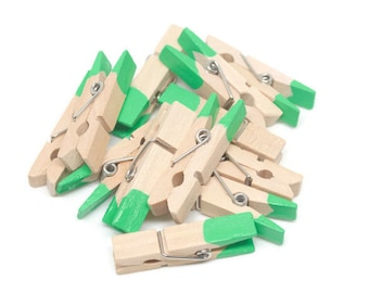 10 Mini clothespins, Mini Clothes Pin, Jungle Party,Jade,Green,Colored Clothespin,Baby Shower,Decorations,Embellishments,Painted Clothespins
