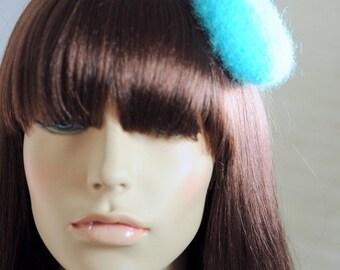 Turquoise Felt Beret Blue Raspberry Mini