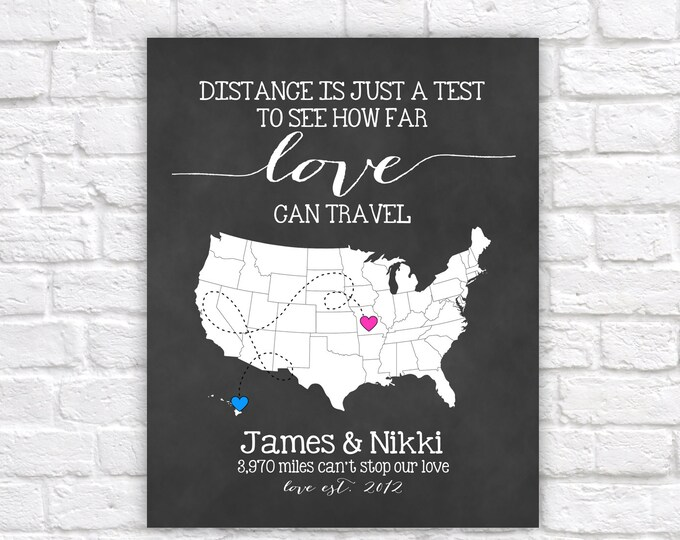 Featured listing image: Long Distance Relationship Gift for Boyfriend, Fiance, Husband -  Custom Map, Art Print, Distance is just a Test, Mileage between us