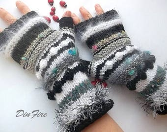 Women L 20% OFF Ready To Ship Bohemian OOAK Fingerless Boho Mittens Cabled Gloves Hand Knitted Striped Accessories Wrist Warmers Winter 1084