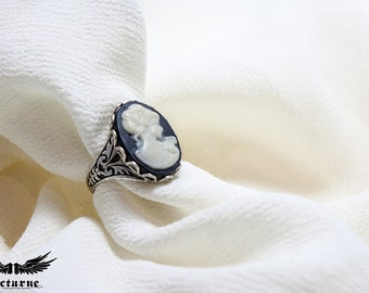 Black and White Cameo Ring - Adjustable Silver Tone Gothic Ring - Victorian Gothic Jewelry