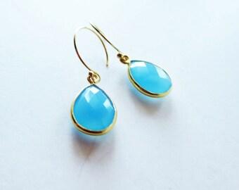 Ocean blue chalcedony earrings. Gold framed pendant earrings.  Chalcedony jewelry.  Blue earrings.