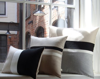 Black & White Chambray Striped Colorblock Pillow Cover Set of 3 - Modern Home Decor by JillianReneDecor