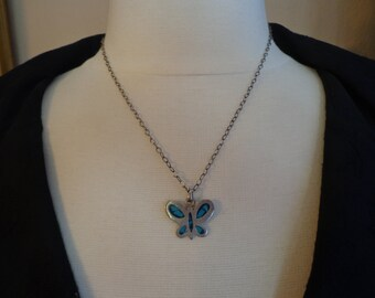 """Vintage 925 Sterling Silver Turquoise Butterfly Pendant on 18"""" Sterling Cable Chain"""