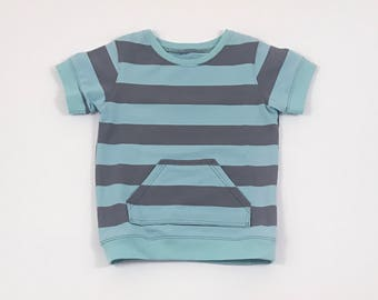 Grey Stripes Shirt. Blue Stripes. Boys Tee Shirt. Organic Boys Shirt. Jersey Knit Tee. Canguru Pocket. Boy Tee. Cuffed Sleeve. Short Sleeve.