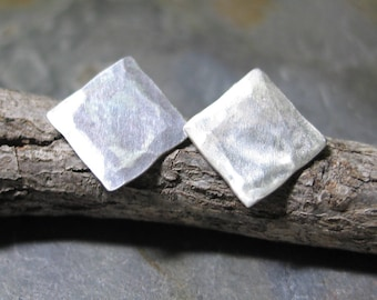 sterling silver studs geometric rustic satin finish petite - Silver Satin