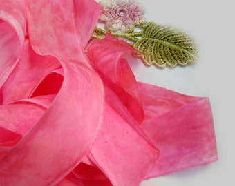Hand Dyed Pink Raw Edge Silk Ribbon - Australia - Florist Ribbon - Fiber Arts and Crafts - Raspberry Kisses