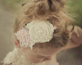 Light Pink and Ivory Flower headband, Vintage, Flower girl headband, light pink