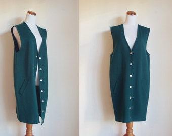 Vintage Oversize Vest, Forest Green Wool Vest, Wool Knit Sweater Vest, 80s 90s Vest, Slouchy Vest, Vintage Knitwear,  Large
