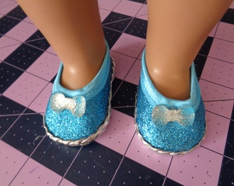 """Blue sparkle 18"""" Doll Sandals-Shown on my american girl doll"""