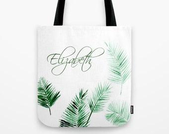Personalized Palm Leaf Tote Bag, bridesmaid bag, personalized bag, name tote bag, tropical tote bag, palm tote bag, palm leaf tote